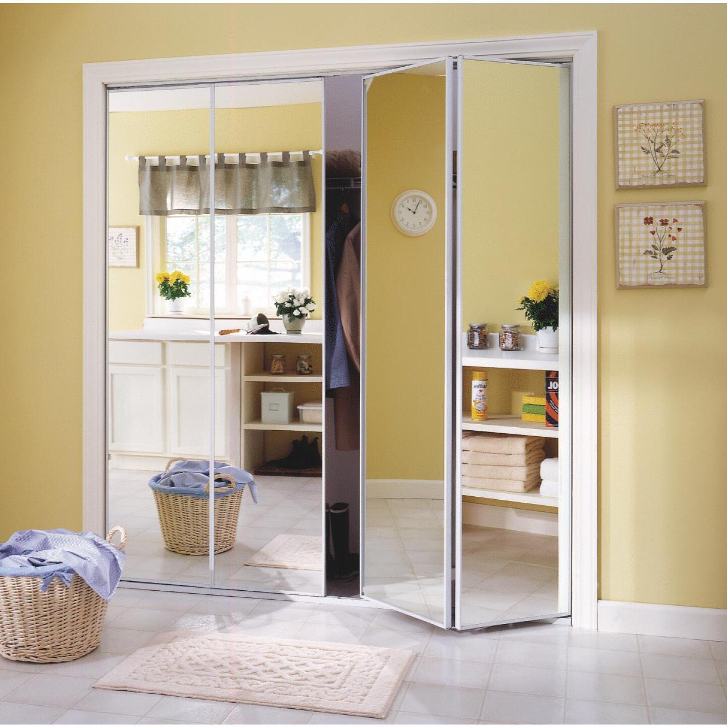 Erias Series 4400 30 In. W. x 80-1/2 In. H. Steel Frame Mirrored White Bifold Door Image 1