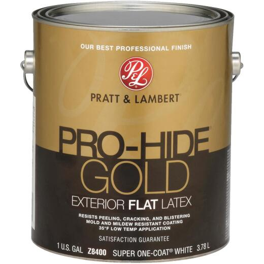 Pratt & Lambert Pro-Hide Gold Latex Flat Exterior House Paint, Super One-Coat White, 1 Gal.