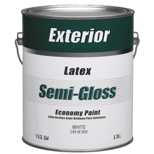 Economy Latex Semi-Gloss Exterior House Paint, White, 1 Gal.