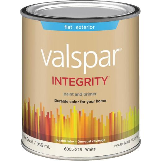 Valspar Integrity Latex Paint And Primer Flat Exterior House Paint, White, 1 Qt.